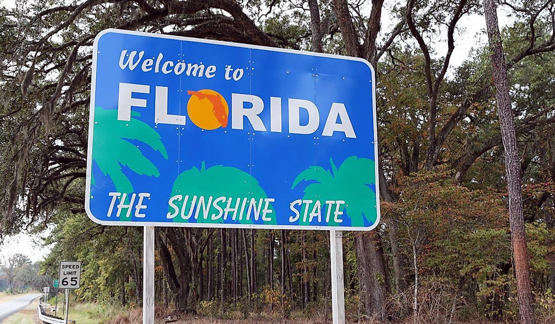 """Welcome to Florida"" roadway sign on the state boundary."