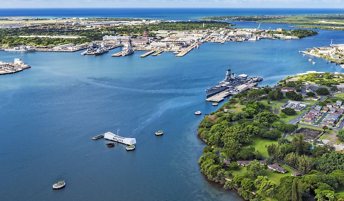Aerial shot of Pearl Harbor on the Hawaiian island of Oahu.