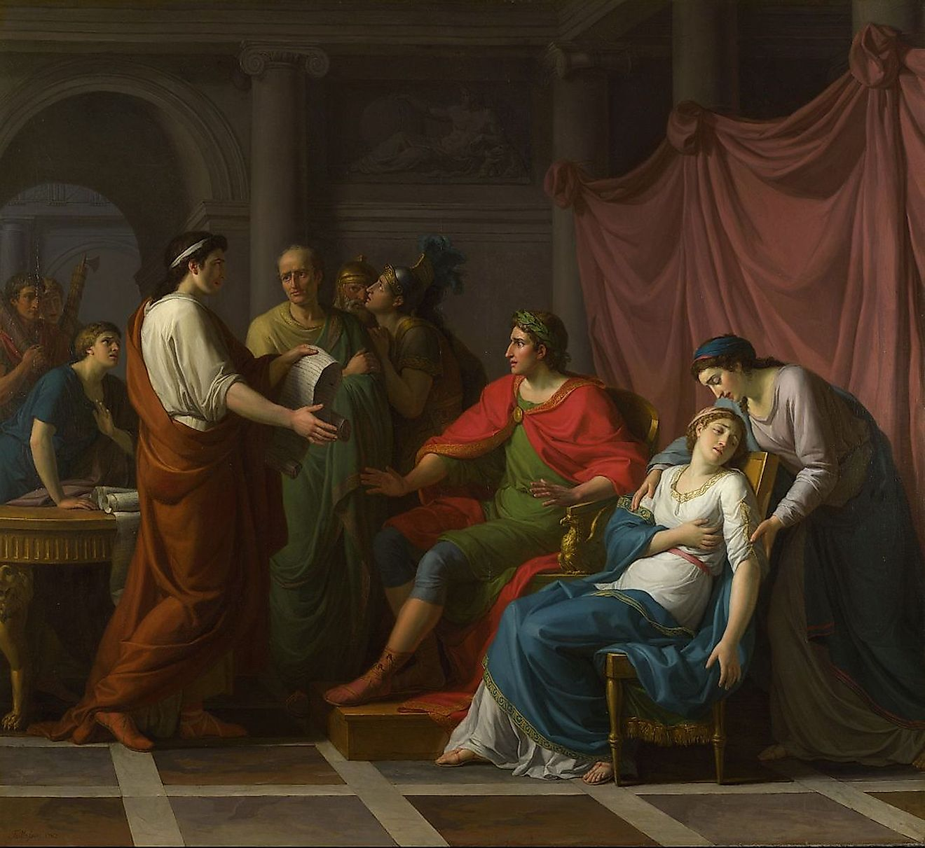 Virgil reading Aeneid, Book VI, to Augustus and Octavia, by Taillasson. Image credit: National Gallery/Public domain