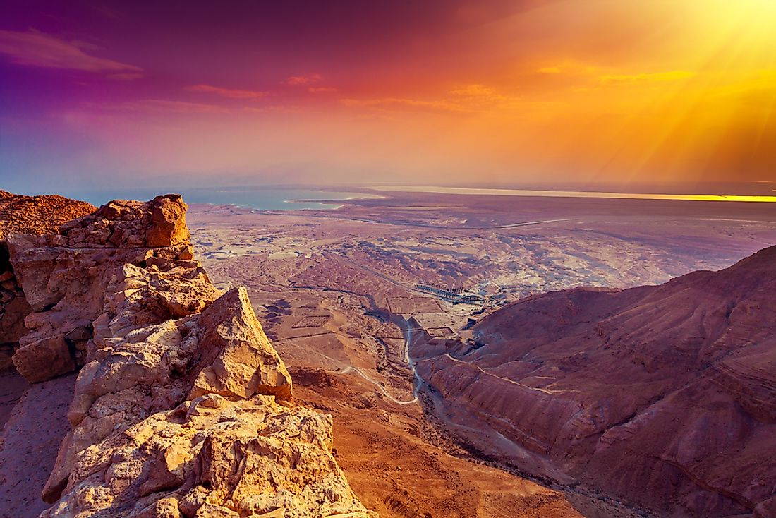 Sunrise over the Masada Fortress, one of the most popular paid tourist destinations in Israel.