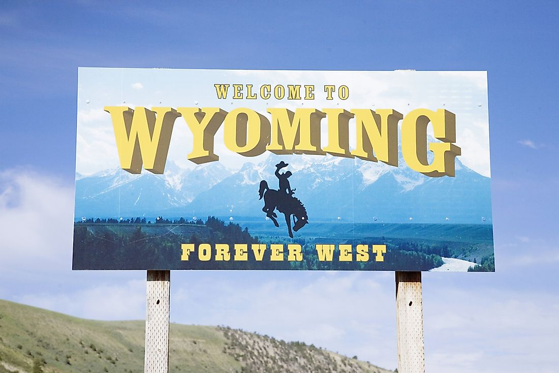 """Welcome to Wyoming"" sign."