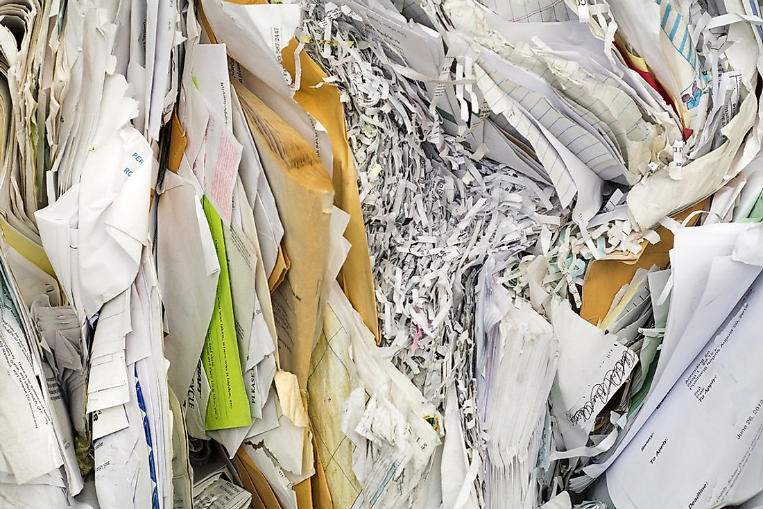 Paper ready to be recycled.