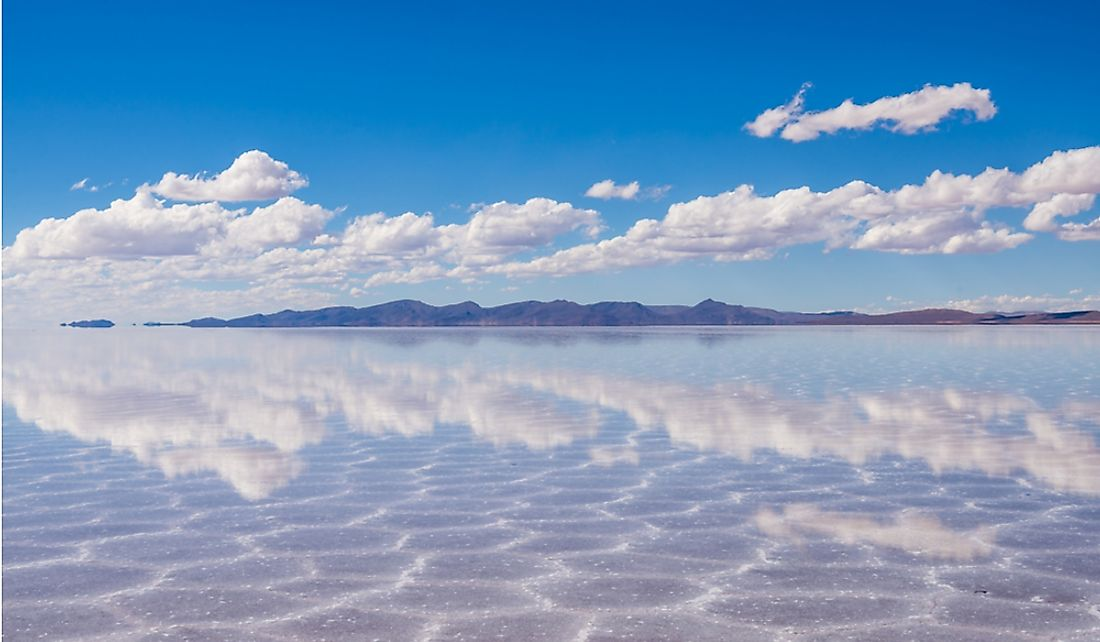Reflection of the sky in Salar de Uyuni, the world's largest mirror.