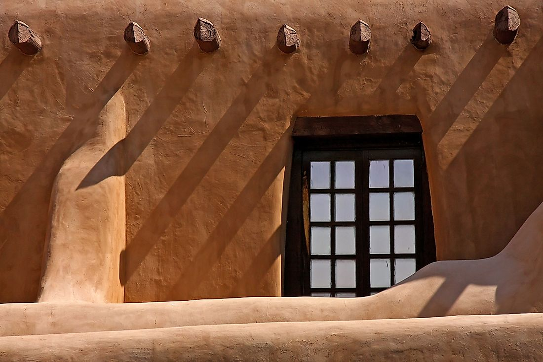 The window of a classic adobe house.