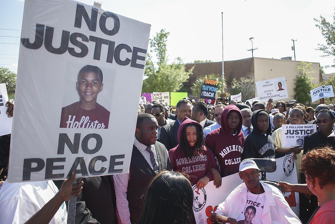 Protesters march in support of Trayvon Martin on March 26, 2012 in Sanford Florida. Trayvon Martin was shot and killed by George Zimmerman on February 26 2012, he was 17. Image credit: Ira Bostic / Shutterstock.com