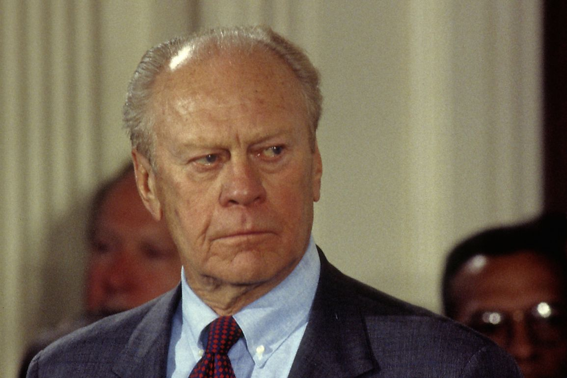 Ford served as president from 1974 to January 1977. Editorial credit: mark reinstein / Shutterstock.com
