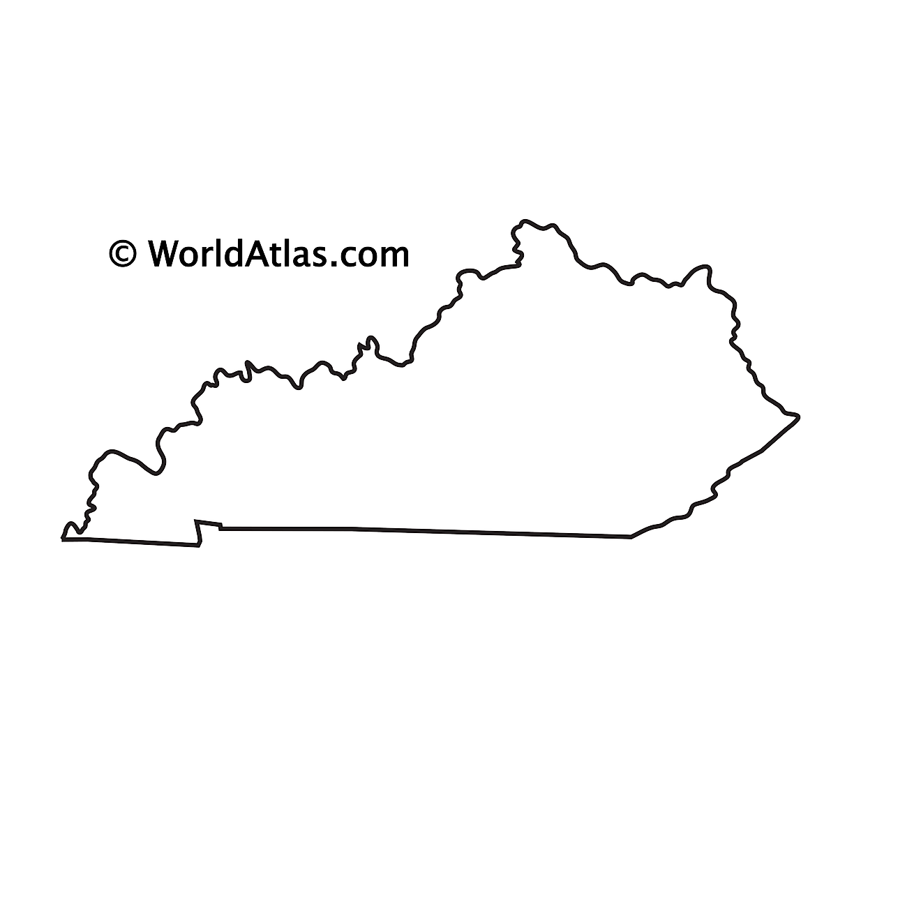 Blank outline map of Kentucky