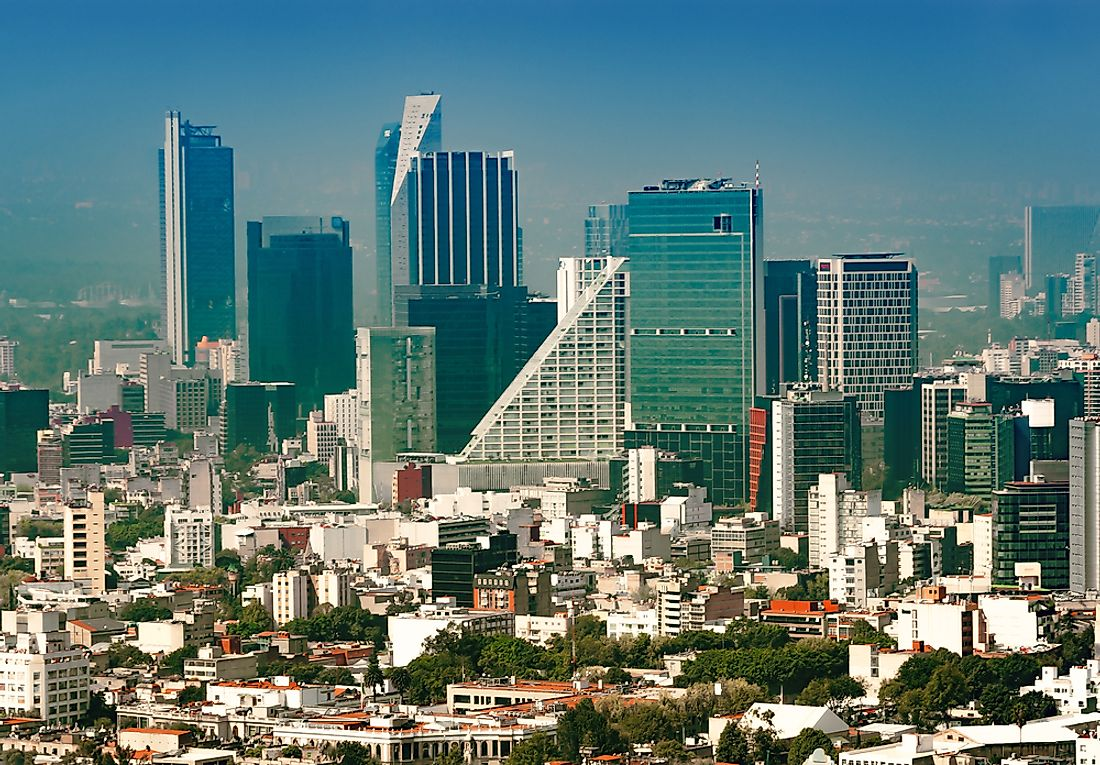 The business district in Mexico City. People in Mexico work longer hours than anywhere else in the world.