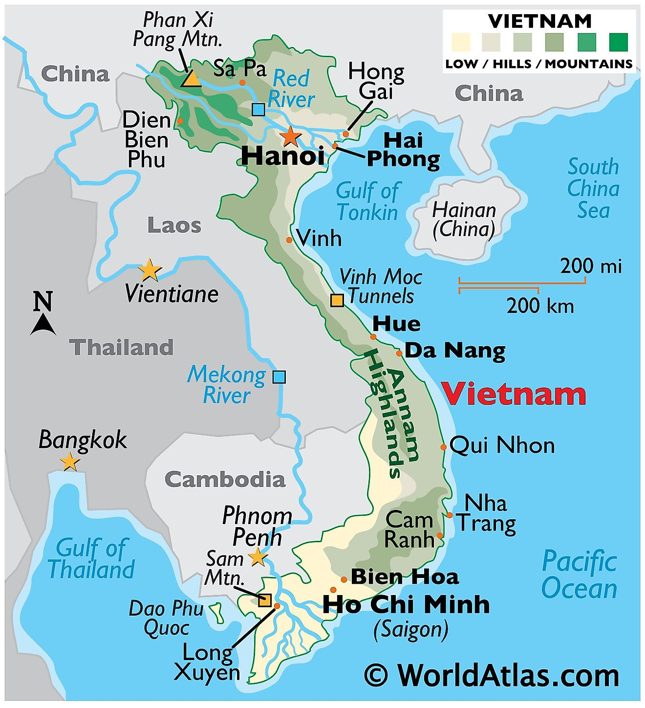 Physical Map of Vietnam with state boundaries, major rivers, highland areas, highest peak, important cities, and more.