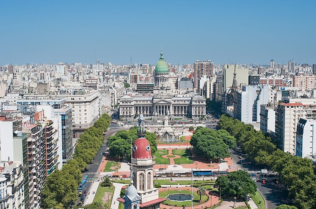 View of the heart of Buenos Aires, the capital and largest city in Argentina.