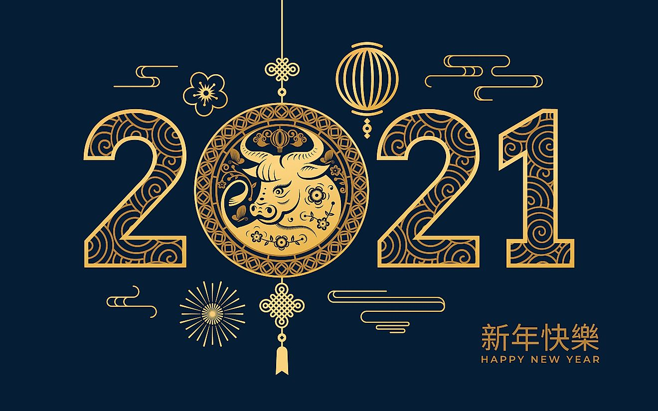 2021 Happy Chinese New Year golden metal ox