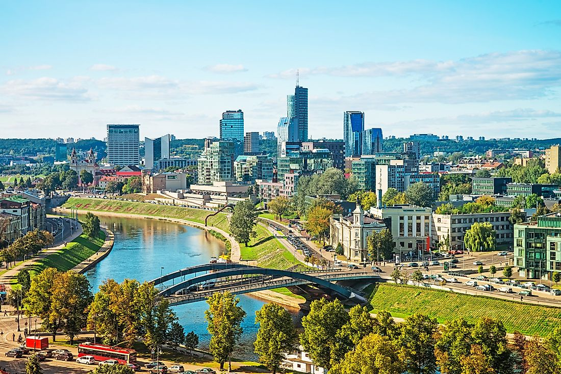 Vilnius, the capital of Lithuania, sits along the Neris and the Vilnia Rivers.