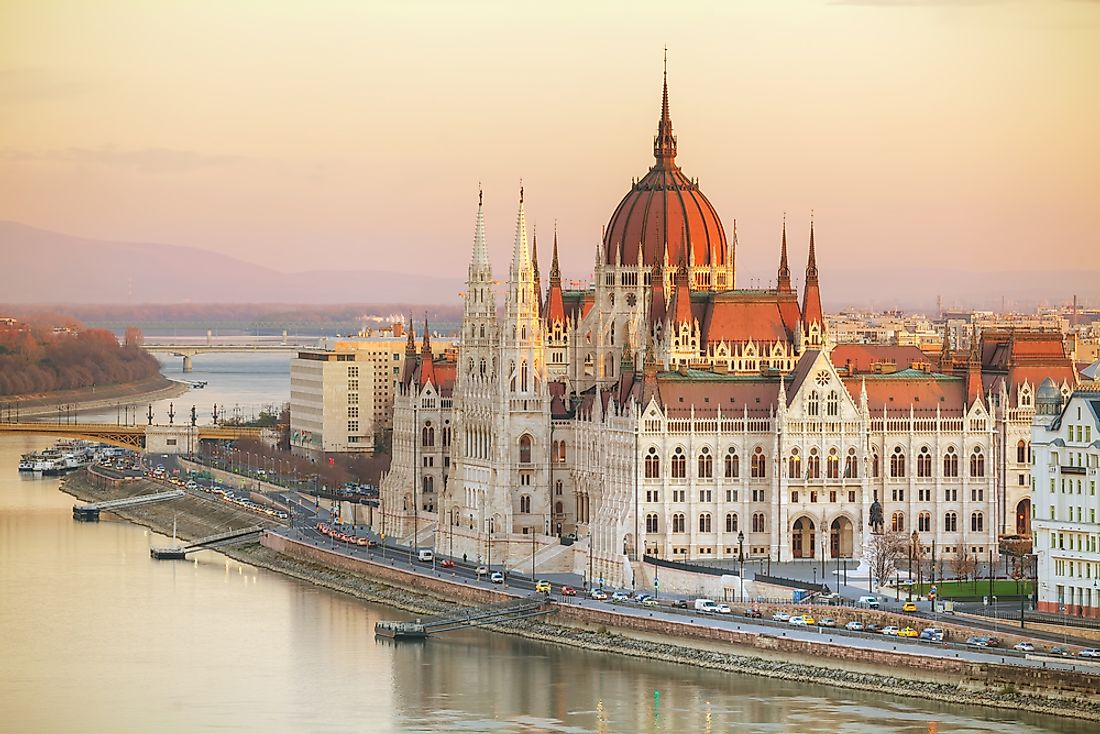 The parliament buildings in Budapest, Hungary.