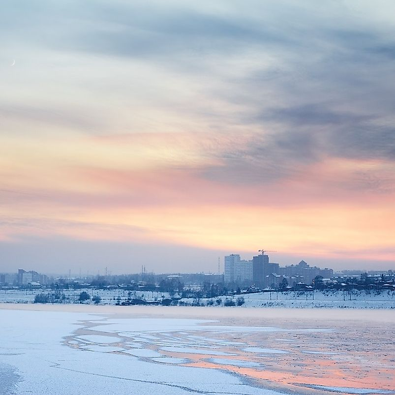 Late evening in winter along the Angara River in Irkutsk, Russia.
