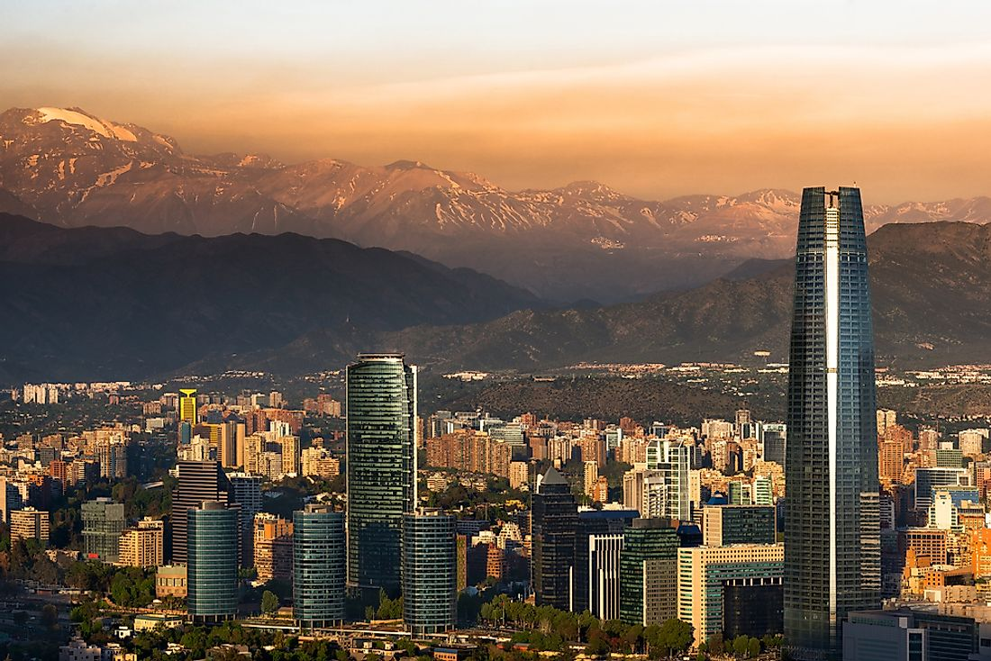 The Gran Torre, in Santiago, Chile, towers over the skyline.