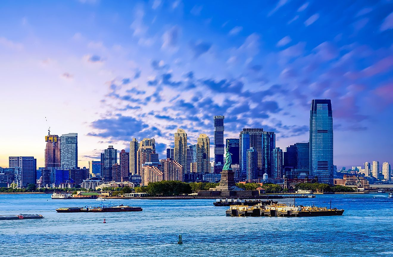 The skyline of Jersey City, New Jersey from New York Harbor.