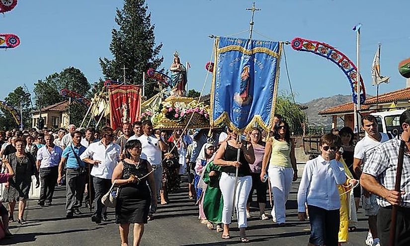 A Catholic procession in Prozelo, Greece.
