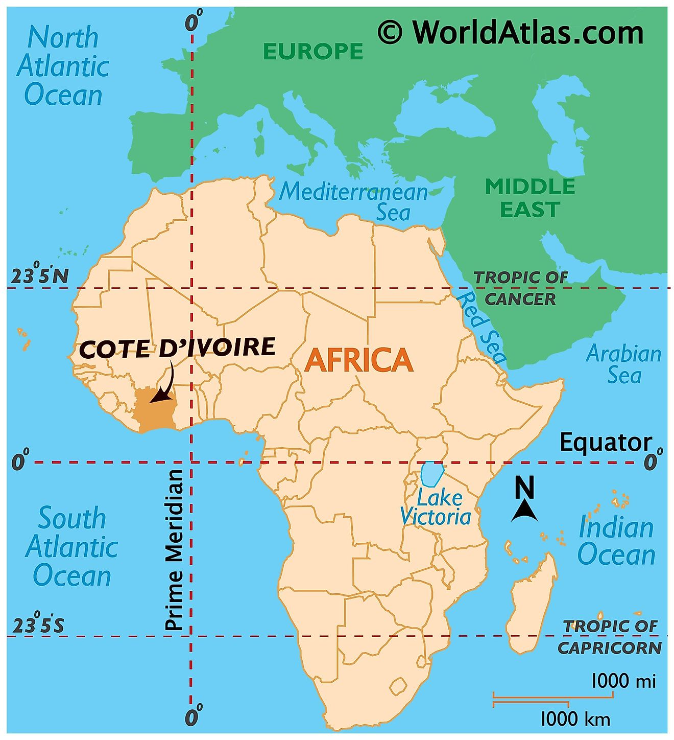 Map showing location of Cote d'Ivoire in the world.