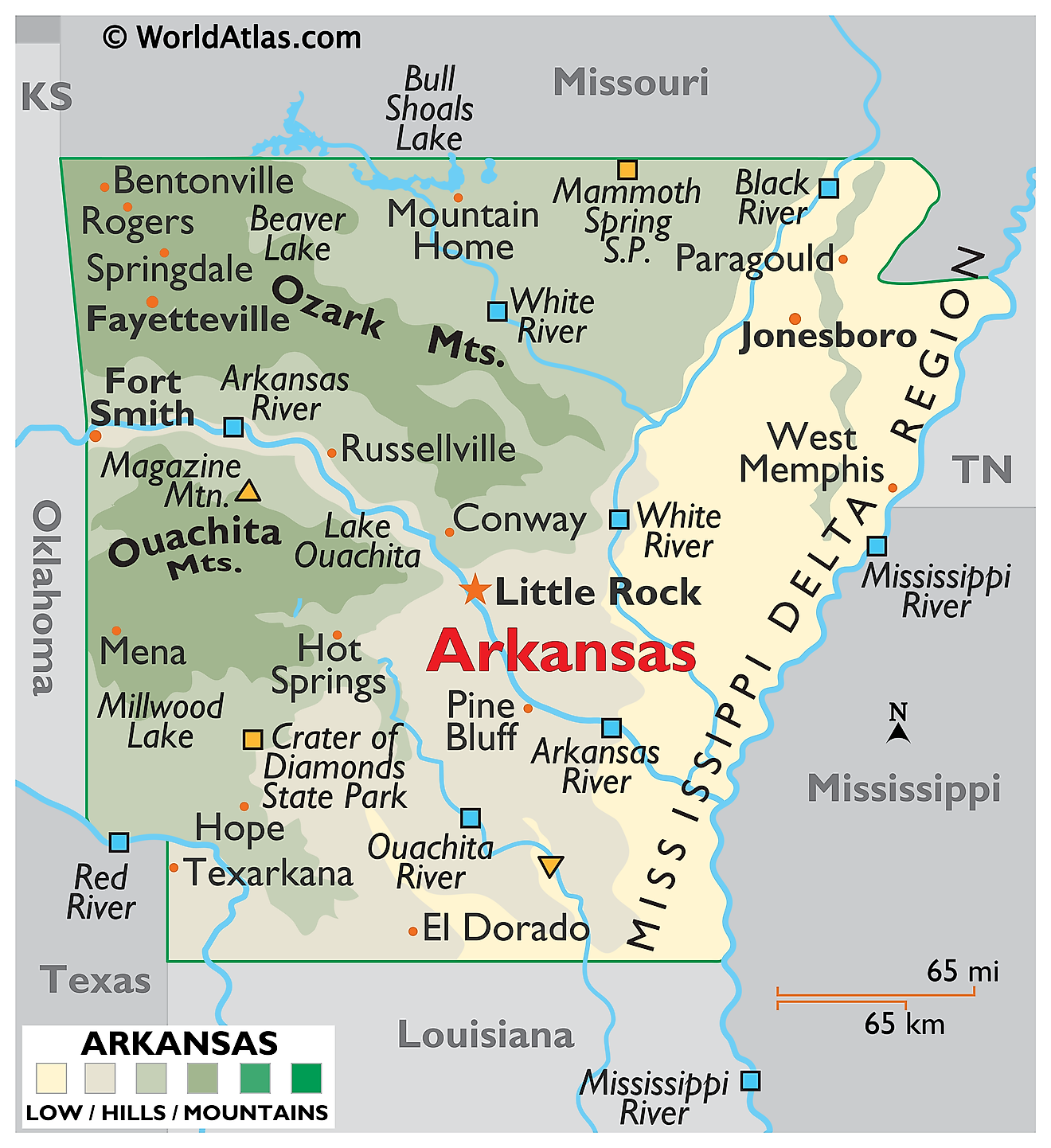 Physical Map of Arkansas. It shows the physical features of Arkansas including its mountain ranges, rivers and lakes.