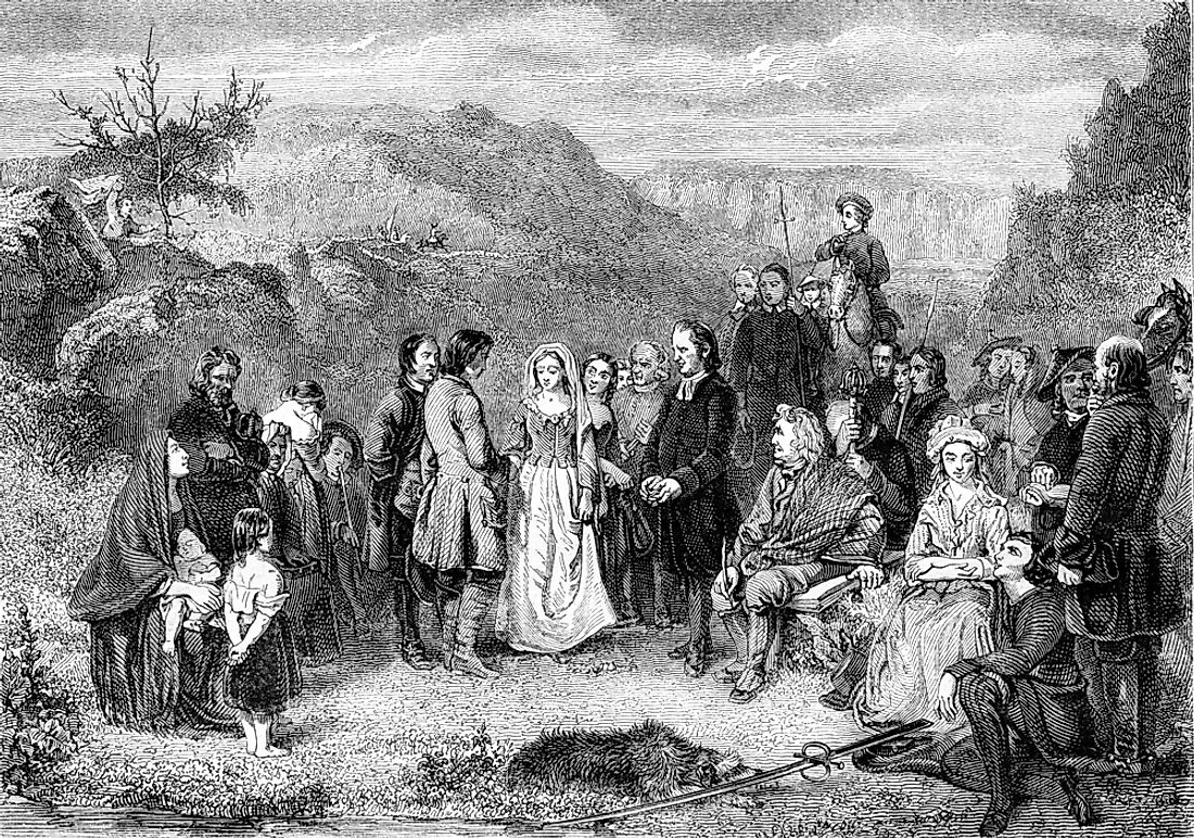 An illustration of a Puritan wedding in 1852.
