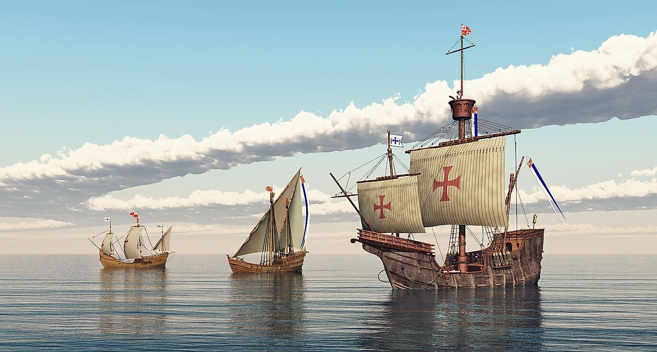3D-generated image of The Pinta, The Niña and the Santa Maria. Image credit: Michael Rosskothen/Shutterstock