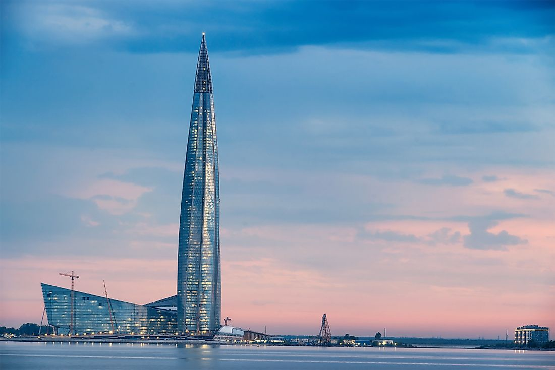 Russia's Lakhta Center is the tallest building in Europe. Editorial credit: Eshma / Shutterstock.com