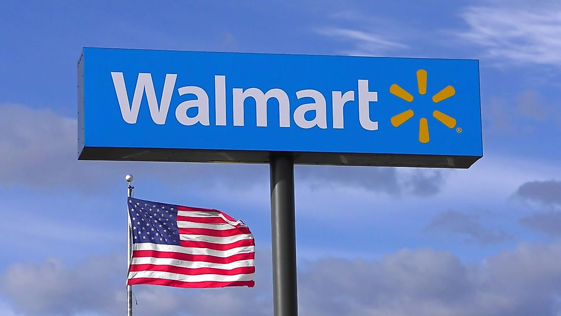 A  Walmart store sign in Massachusetts. Editorial credit: QualityHD / Shutterstock.com.