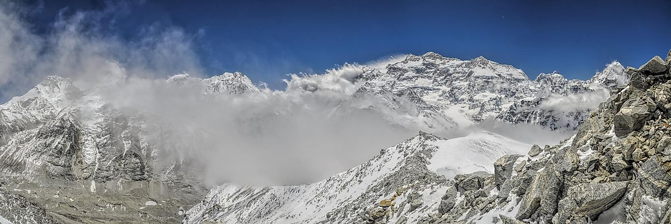 Kangchenjunga rises above the clouds in the Himalayas.