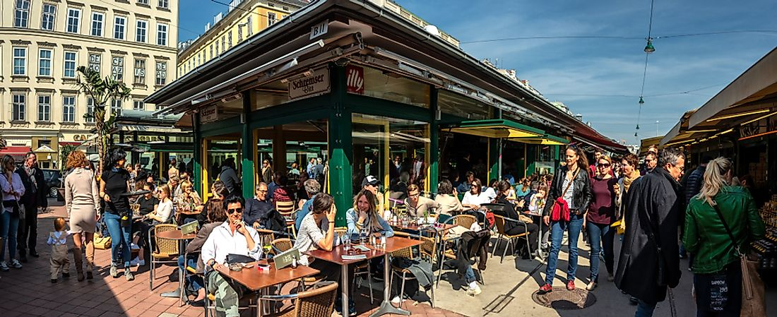 People on the patios of Vienna, Austria. Editorial credit: Karl Allen Lugmayer / Shutterstock.com.