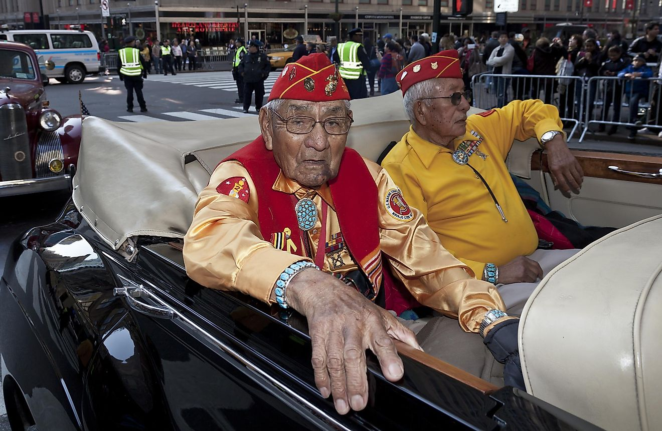 Members of Navajo Code Talkers ride at Veteran's Day Parade along 5th Avenue on November 11, 2012 in New York City. Image credit: lev radin / Shutterstock.com