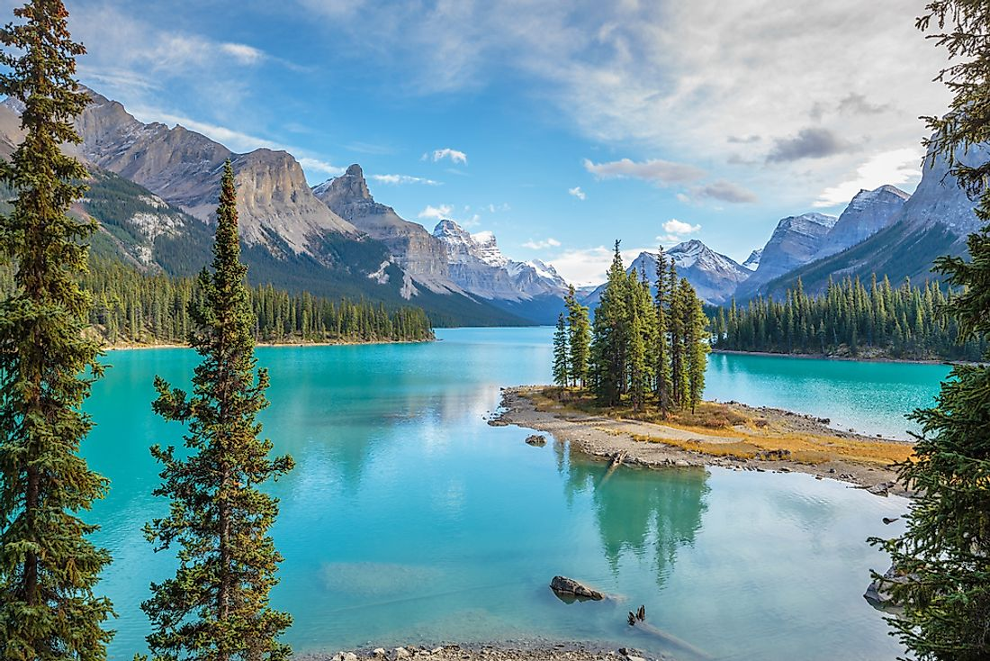Maligne Lake in Jasper National Park, one of the national parks located in the Canadian province of Alberta.