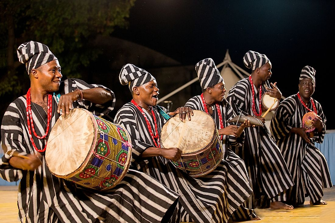 Musicians from Benin performing in Italy. Editorial credit: Simon Kovacic / Shutterstock.com.