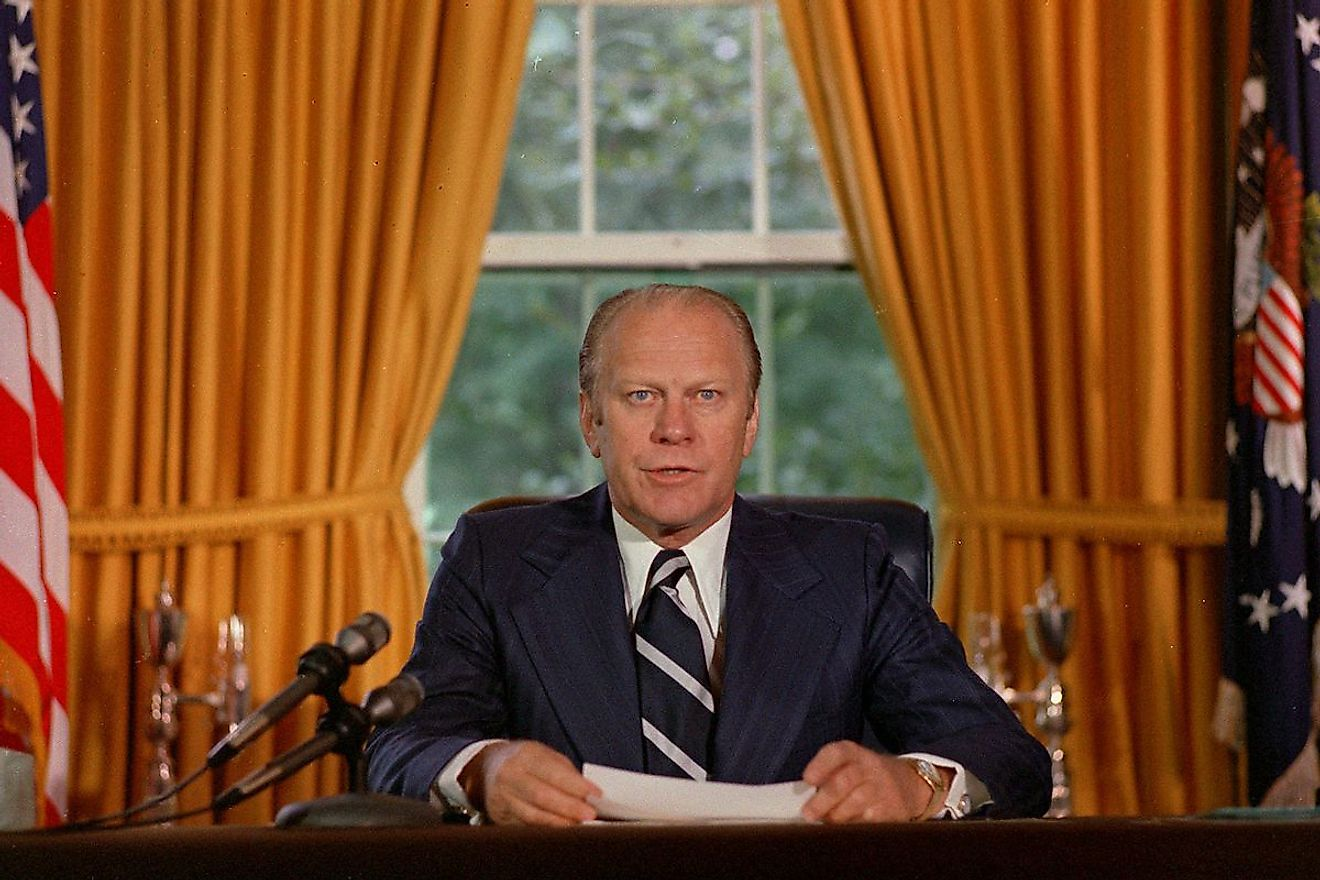 Ford took over the presidency after Nixon's impeachment. Image credit: deseret.com