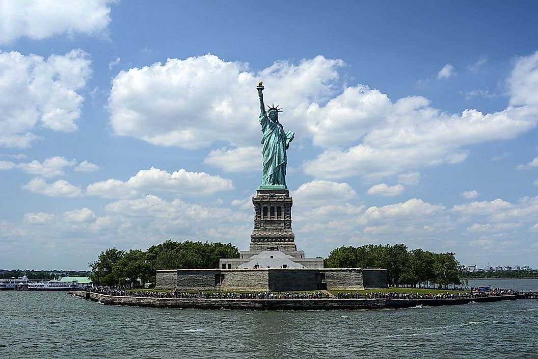 The 151 feet high Stature of Liberty is the tallest statue in the United States and a UNESCO World Heritage Site.