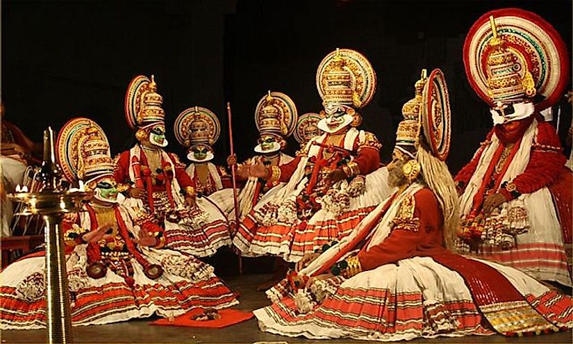 A unique dance form of India, Kathakali involves elaborate costumes and face mask wearing actor-dancers, who have traditionally been all males.