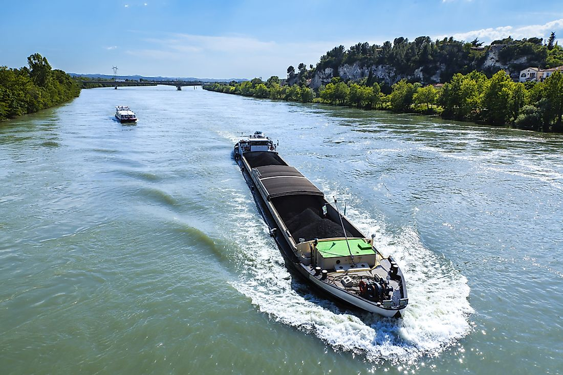 Coal being transported on the Rhine River.