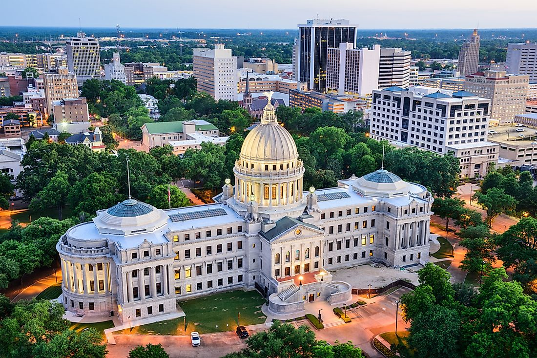 Jackson, Mississippi, with the Capitol Building in the foreground.