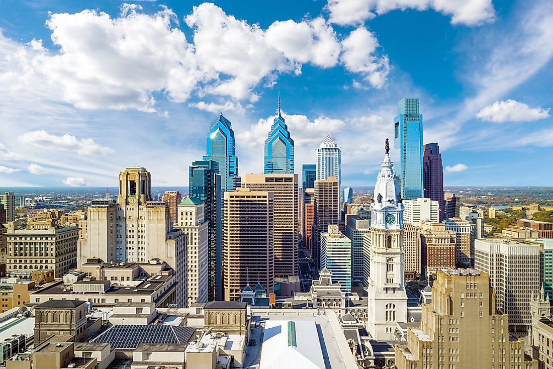 The symmetrically pleasing skyline of Philadelphia, Pennsylvania, USA.