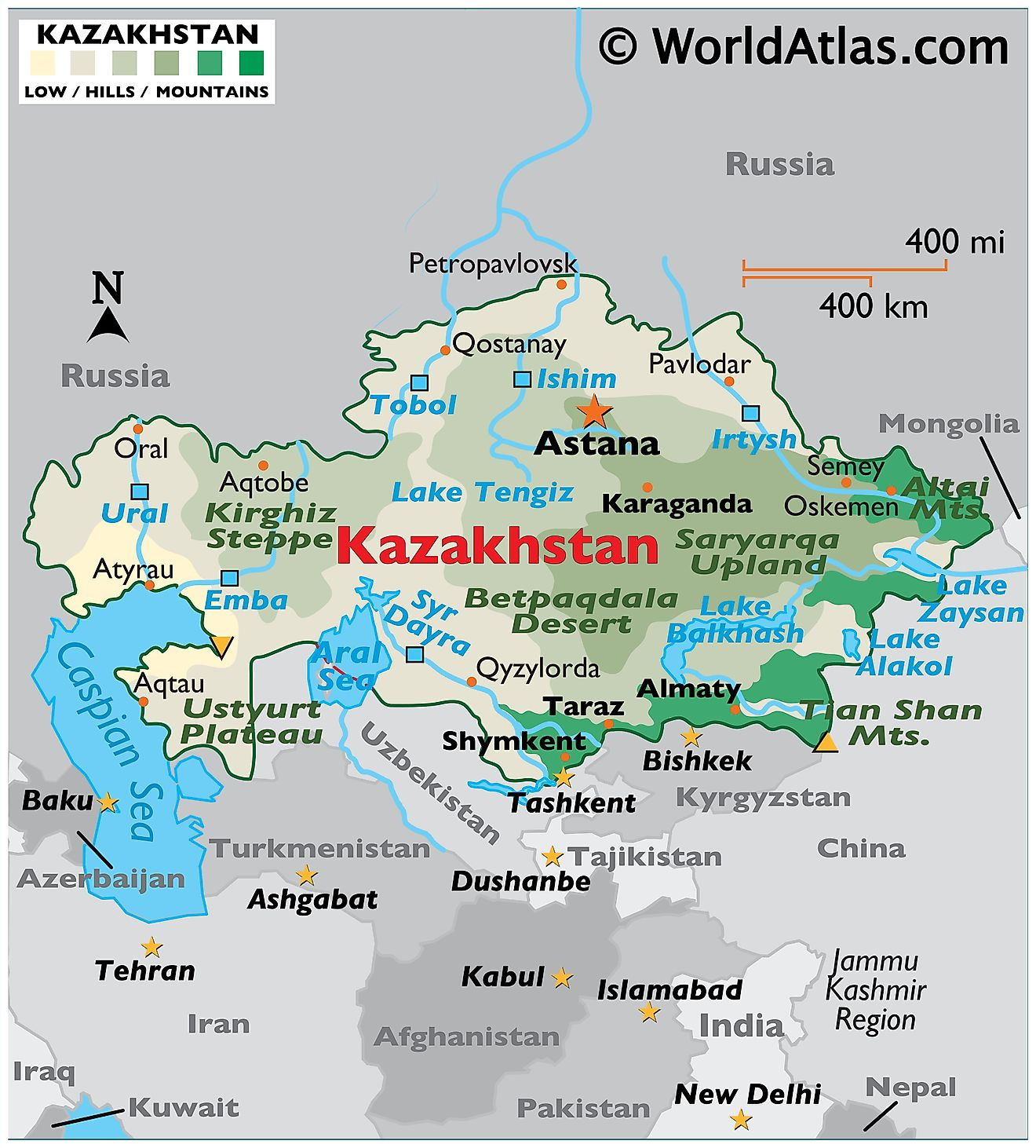 Physical Map of Kazakhstan showing relief, mountains, highest point and lowest points, major lakes, rivers, important urban centres, etc.