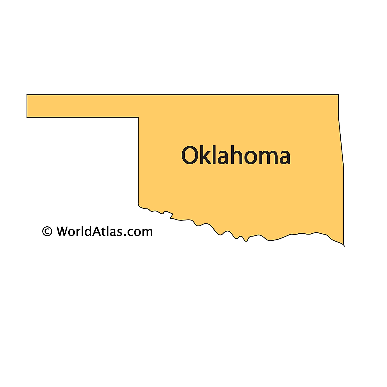 Outline Map of Oklahoma