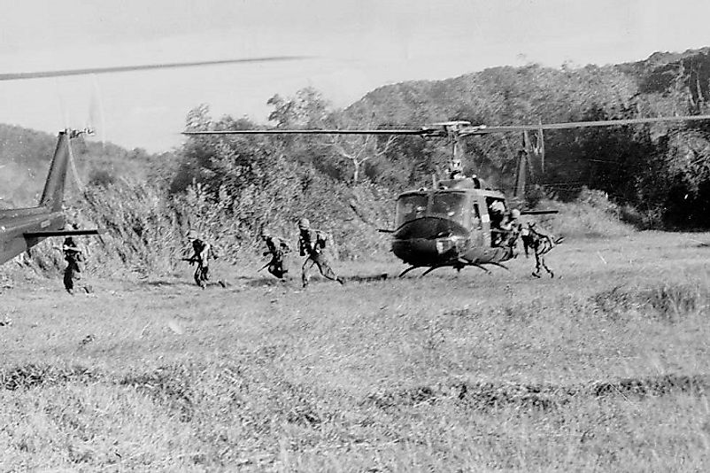 U.S. Air Calvary lands during the Battle of Ia Drang.