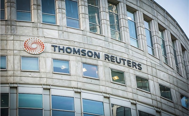 Thomson Reuters Building, in Canary Wharf, London. Editorial credit: Willy Barton / Shutterstock.com.