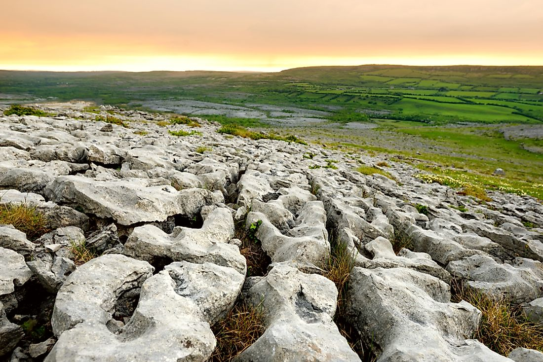 The glaciated karst landscape of the Burren in County Clare, Ireland.