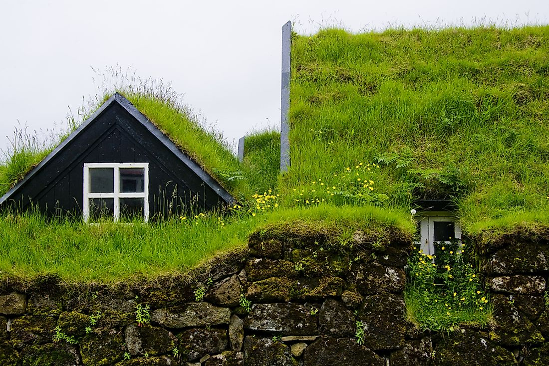 Turf houses are a traditional type of housing found uniquely in Iceland.