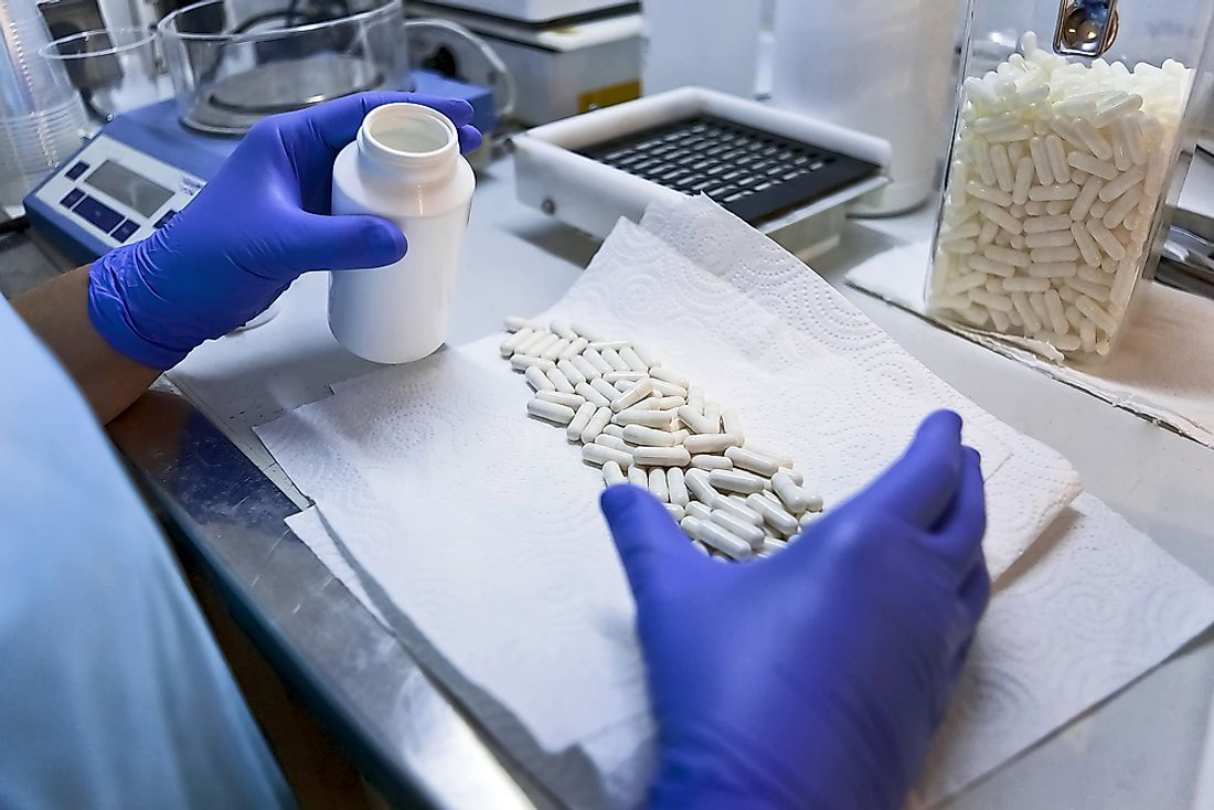 Capsules in a pharmaceutical lab in Spain.