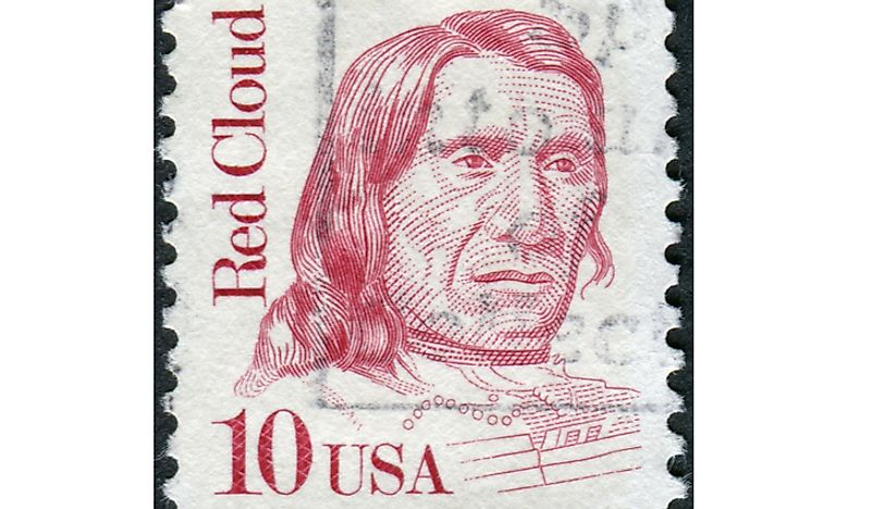 A postage stamp from 1987 honoring Red Cloud. Editorial credit: Sergey Kohl / Shutterstock.com.
