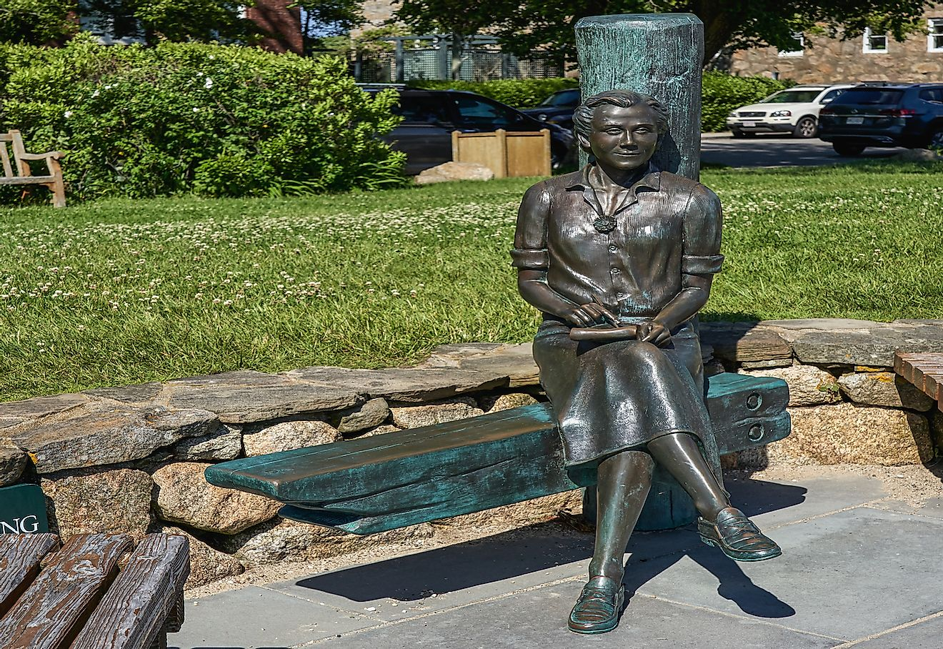 The statue of Rachel Carson author of Silent Spring sits at Waterfront Park.