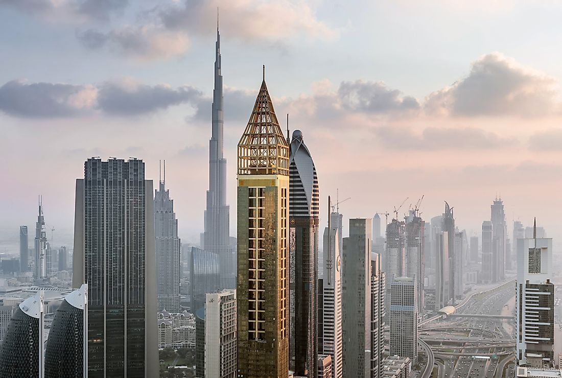 The Rose Rayhaan by Rotana, in Dubai, is one of the world's tallest hotels. Editorial credit: Pavel L Photo and Video / Shutterstock.com.