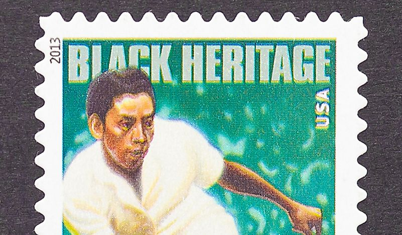 A stamp bearing Althea Gibson's image, circa 2013. Editorial credit: catwalker / Shutterstock.com.