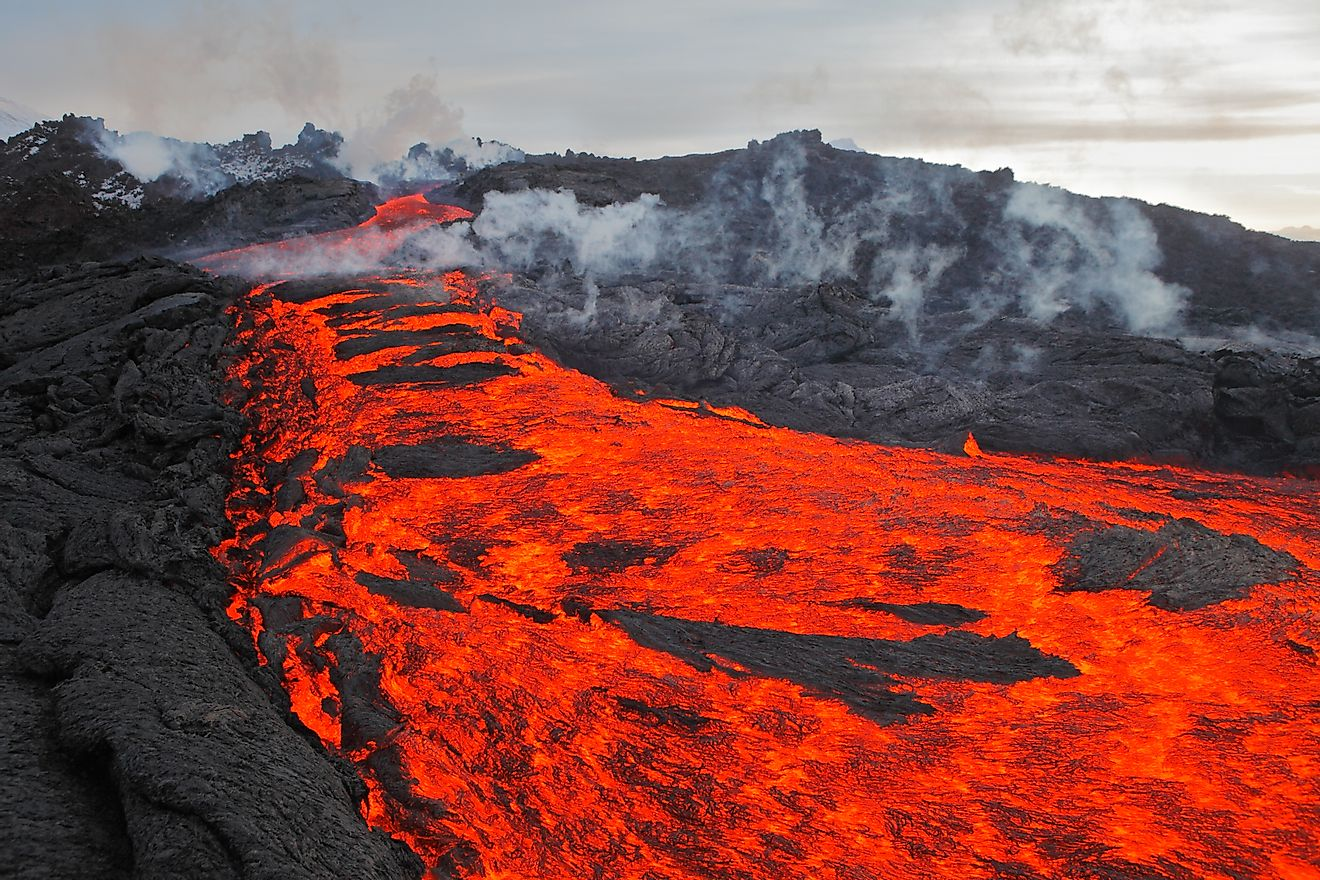 Lava flow from a volcanic eruption.
